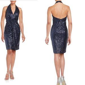 VINCE Camuto Sequin Halter Dress Navy Blue